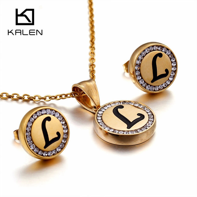 KALEN Bulgaria Gold 26 Capital Letter Jewelry Sets For Women Stainless Steel Initial Letter A- Z Pendant Necklace & Earrings Set