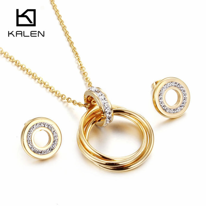 Kalen Fashion Cheap Jewelry Set Gold Color Stainless Steel Round Pendant Necklace & Earrings Set For Women Friendship Gifts 2018