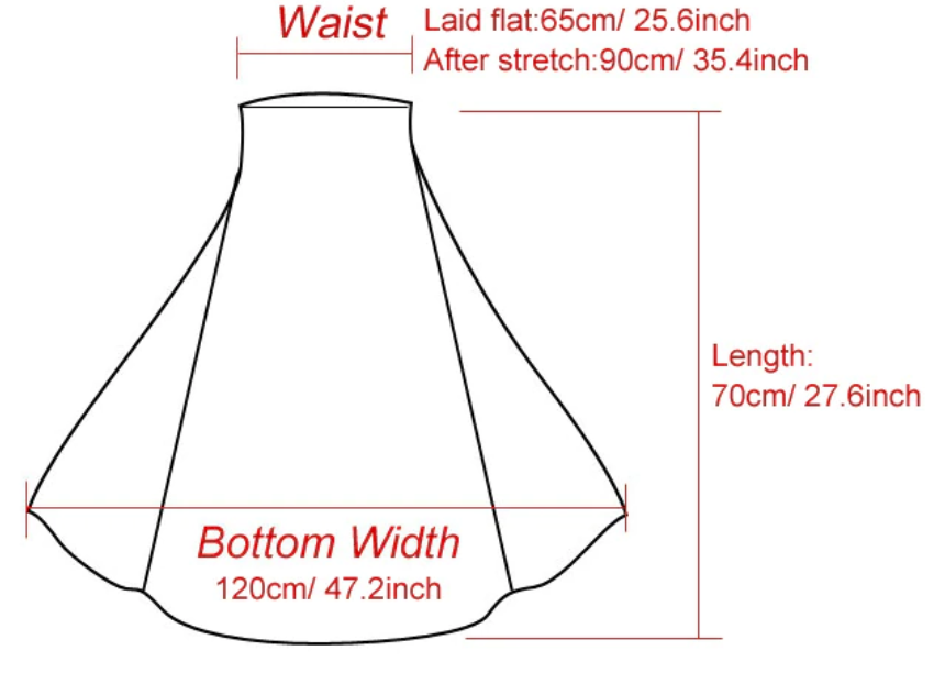 Size Guide - High Waist Pleated Mid Length Skirt - Multiple Colours