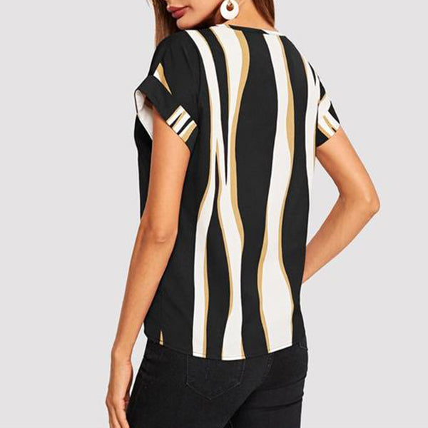 Casual Top, T-shirt with Cuffed Sleeves in Striped Colorblock Print - Black - Back