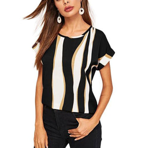 Casual Top, T-shirt with Cuffed Sleeves in Striped Colorblock Print - Black