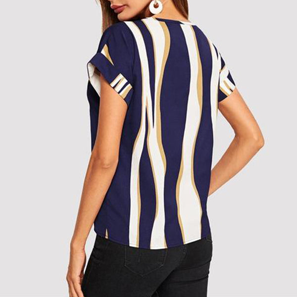 Casual Top, T-shirt with Cuffed Sleeves in Striped Colorblock Print - Blue - Back