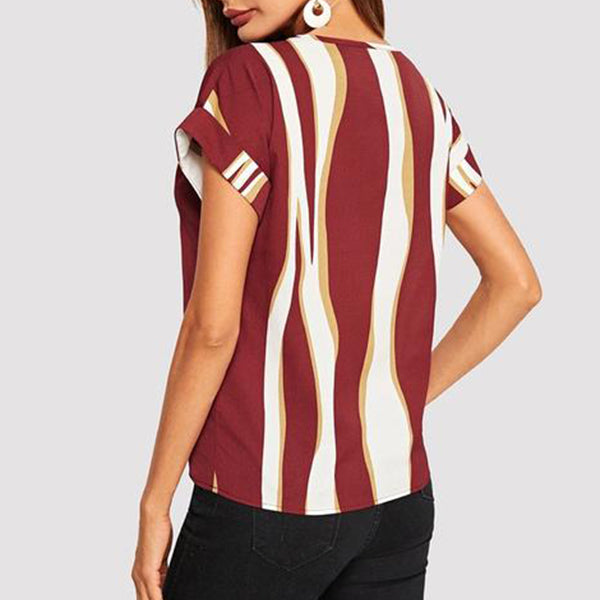 Casual Top, T-shirt with Cuffed Sleeves in Striped Colorblock Print - Red - Back