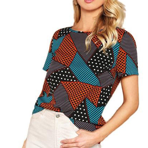 Casual Top with Multicolour Geometric Polka-dot Print