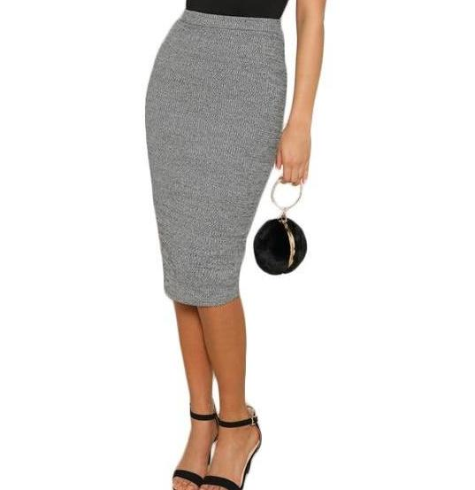 Casual, Yet Elegant Grey Pencil Knee-Length Skirt