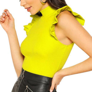 Electrifying Rib Knit Slim Fit Top with Stand Collar and Ruffle Sleeve Detail in Neon Lime