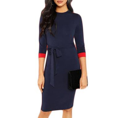 Elegant Belted Blue Pencil Dress with Red Colour Pop