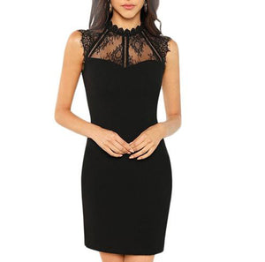 Elegant Black Sleeveless Dress with Sweetheart Neckline and Contrast Lace