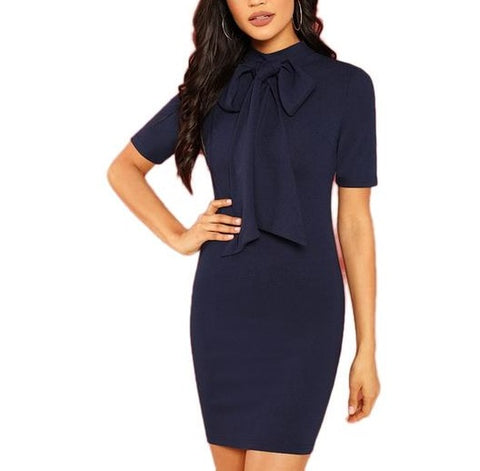 Elegant Navy Blue Bodycon Dress with Stand Collar and Neck Tie