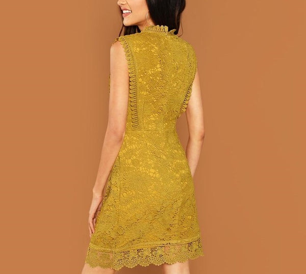 Elegant Sleeveless Shift Dress in Ginger with Contrast Lace - Back