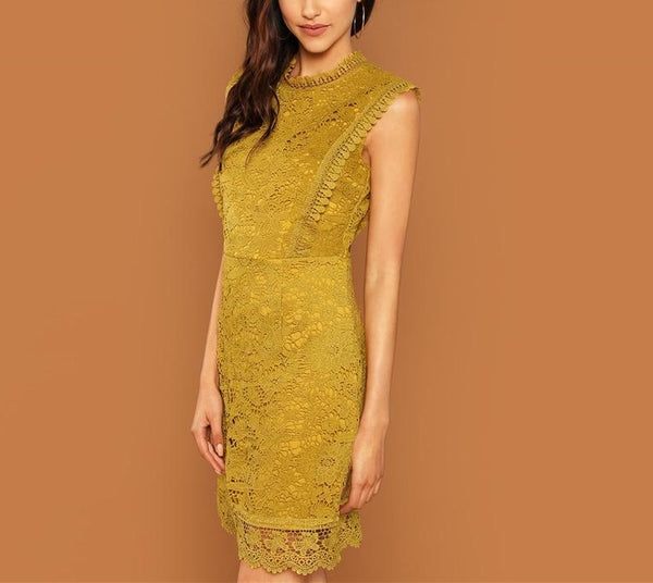 Elegant Sleeveless Shift Dress in Ginger with Contrast Lace - Side