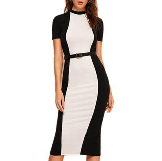 Elegant Two Tone Bodycon Pencil Dress - Colour Blocked in Black and White