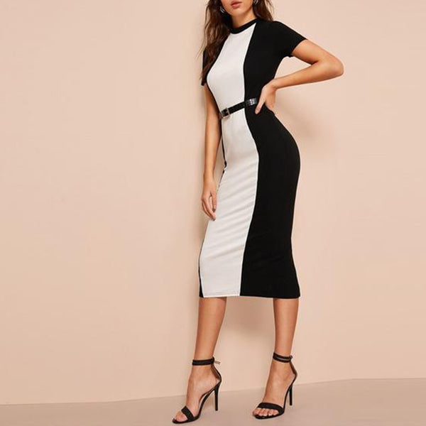 Elegant Two Tone Bodycon Pencil Dress - Colour Blocked in Black and White - Side