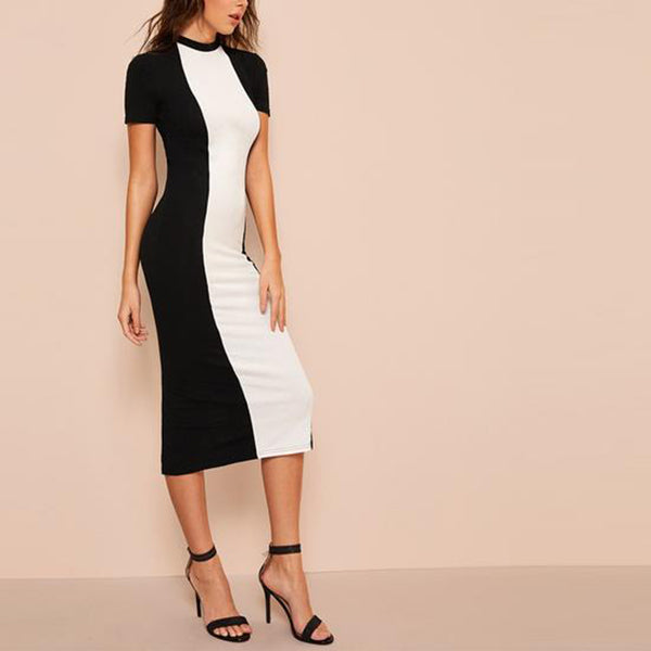 Elegant Two Tone Bodycon Pencil Dress - Colour Blocked in Black and White - Right Side