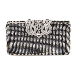 Lovely Evening Clutch Bag with Rhinestone Metal Crown Closure - Black - Front