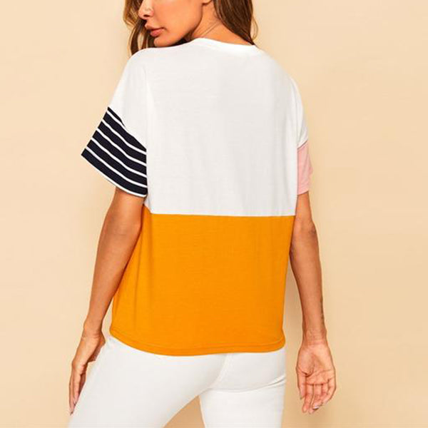 Multicolor Colourblock Casual T-Shirt with Front Pocket - back