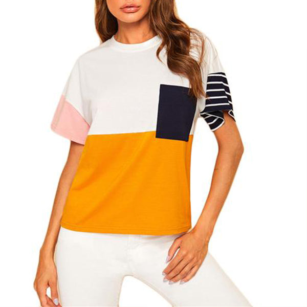 Multicolor Colourblock Casual T-Shirt with Front Pocket