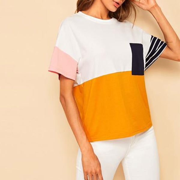 Multicolor Colourblock Casual T-Shirt with Front Pocket - side