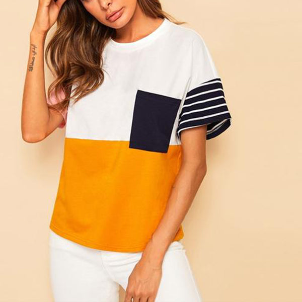Multicolor Colourblock Casual T-Shirt with Front Pocket - Front