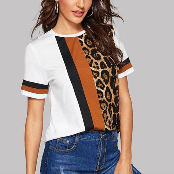 Short Sleeve T-shirt with Colorblock Cut-and-Sew Multicolour Leopard Print - Side