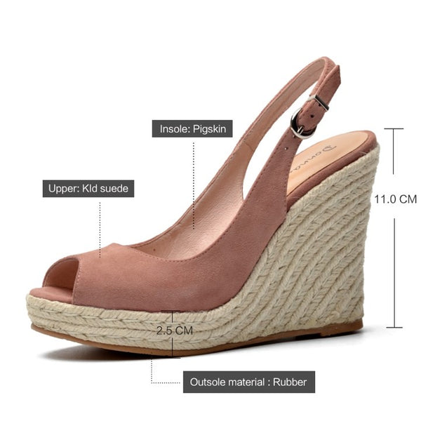 Open Toe Sling Back Wedges - pink - dimensions and specs