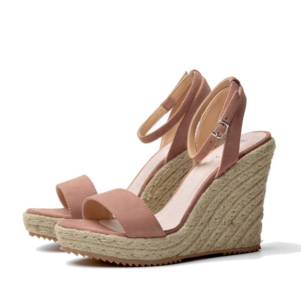 Genuine Leather Ankle Strap Wedges - Pink - Both Shoes
