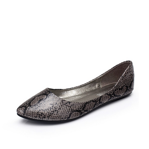 Women's Snakeskin Pattern Flats - Grey