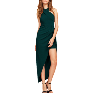 Halterneck Asymmetrical Long Dress - Emerald Green
