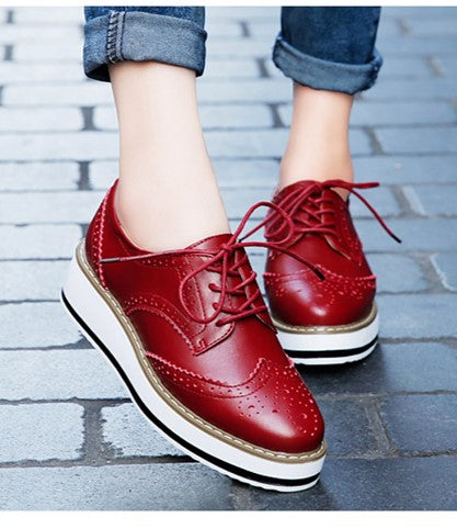 Matt Oxford Flats, Brogues - Matt Red - Both feet
