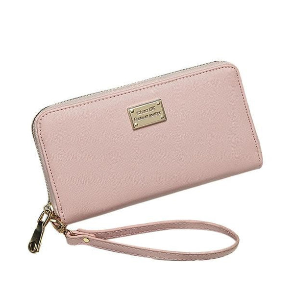 Large Ladies Wristlet Wallet - Pink