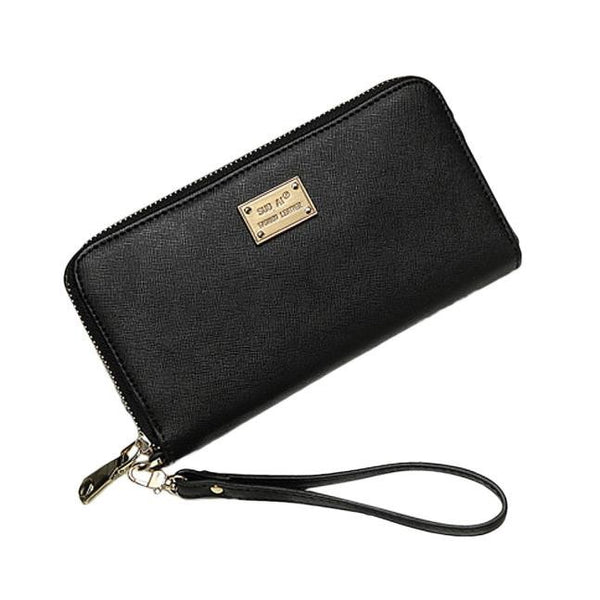 Large Ladies Wristlet Wallet - Black