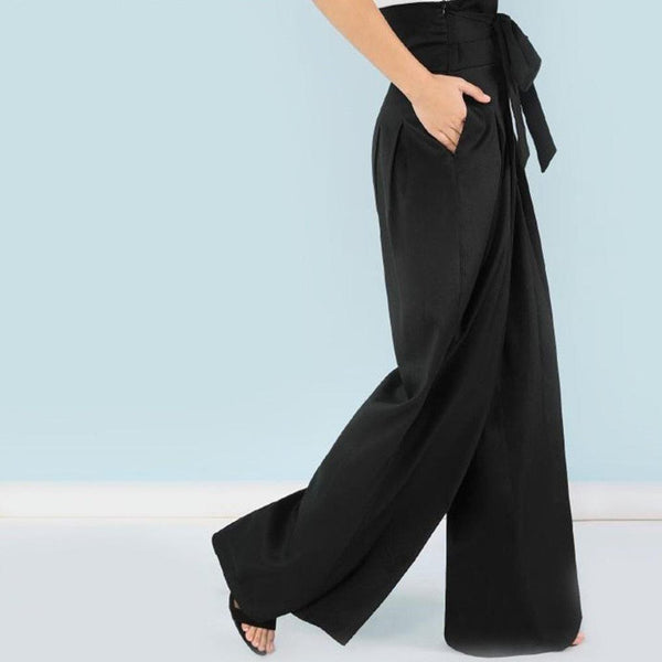 High Waist Belted Wide Leg Pants - Black - Side