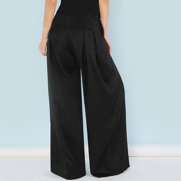 High Waist Belted Wide Leg Pants - Black - Back