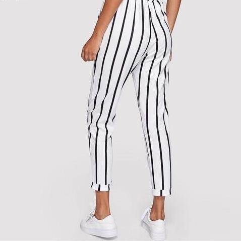 High Waist Drawstring Pants - Black & White Stripes - Back