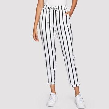 High Waist Drawstring Pants - Black & White Stripes - Front