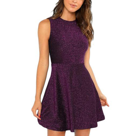 Short Purple Glitter Fit and Flare Sleeveless High Waist Dress