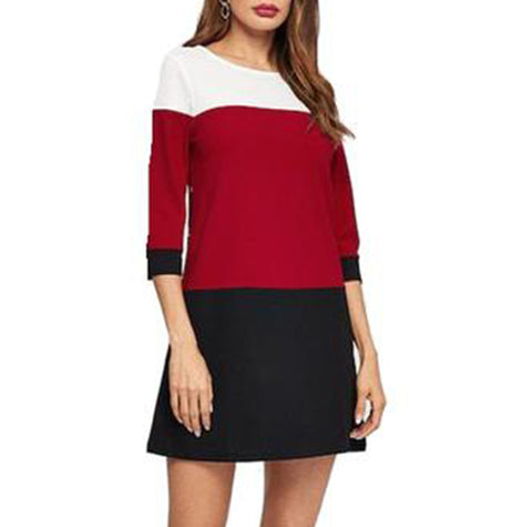 Stylish Colour Block Tunic Dress in White, Red and Black