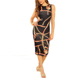 Stylish Sleeveless Bodycon Pencil Dress in Black with Abstract Print