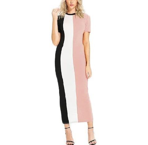 Trendy Colour Blocking Slim Fit Maxi Dress