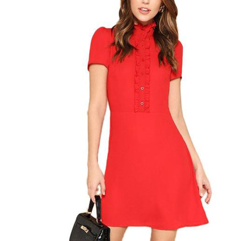 Vibrant Red Fit and Flare Sheath Midi Dress