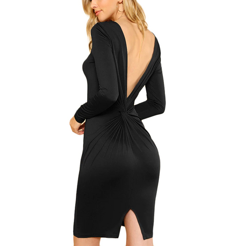 Sexy Black Bodycon Mini Dress with Open Back and Long Sleeves - Back