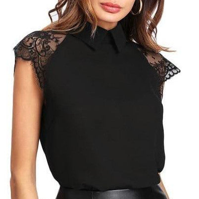 Blouse Top with Floral Lace Detail - Black