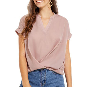 Draped V Neck Top - Vintage Pink