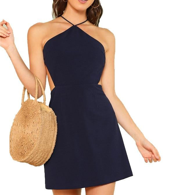 Halter Mini Dress with Open Back - Navy