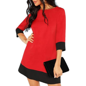 Tunic Dress with 3/4 Sleeves - Red with Black Trim