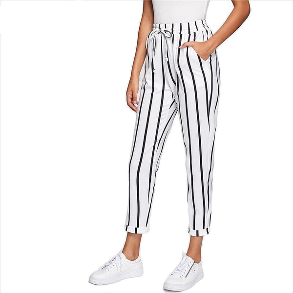 High Waist Drawstring Pants - Black & White Stripes