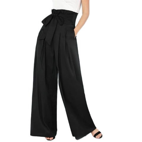 High Waist Belted Wide Leg Pants - Black