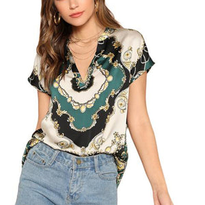 Elegant Multicolor Vintage Scarf Print Blouse Top with V Neck and Curved Hem