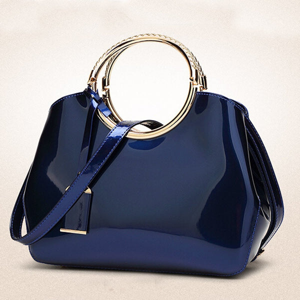Luxurious Handbag with Double Metal Handles - Sapphire Blue - Angle