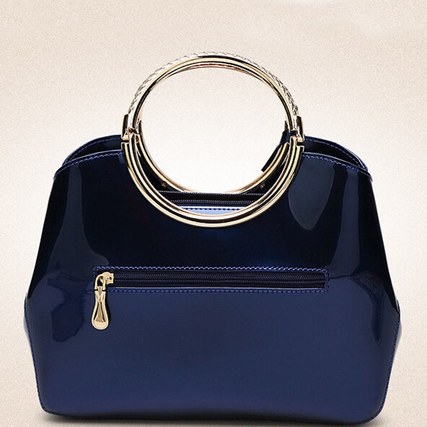 Luxurious Handbag with Double Metal Handles - Sapphire Blue - Back
